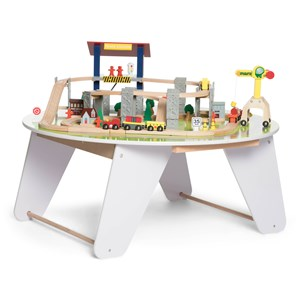 STOY Round White Wooden Train table
